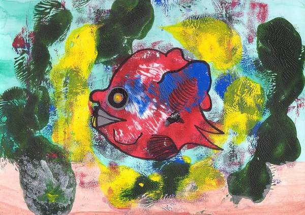 Fish Art Print featuring the painting Fish Seeks Fish by Michael Puya