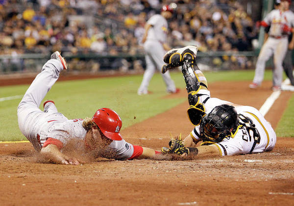St. Louis Cardinals Art Print featuring the photograph Francisco Cervelli and Mark Reynolds by Justin K. Aller