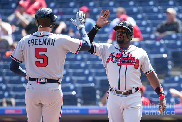 Three Quarter Length Art Print featuring the photograph Freddie Freeman and Brandon Phillips by Mitchell Leff