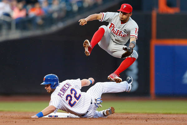 Double Play Art Print featuring the photograph Freddy Galvis by Mike Stobe
