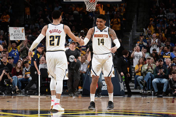 Nba Pro Basketball Art Print featuring the photograph Gary Harris and Jamal Murray by Bart Young