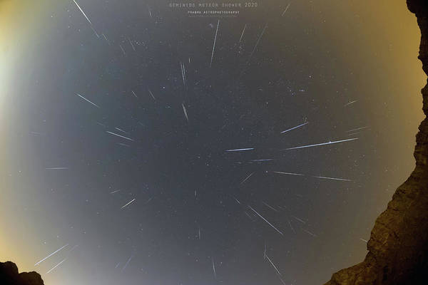 Art Print featuring the photograph Geminids Meteor Shower 2020 by Prabhu Astrophotography