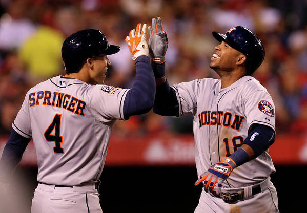 People Art Print featuring the photograph George Springer and Luis Valbuena by Stephen Dunn