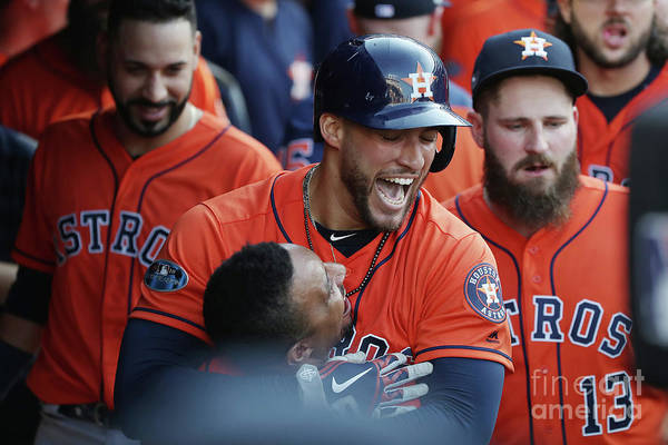 People Art Print featuring the photograph George Springer and Tony Kemp by Gregory Shamus