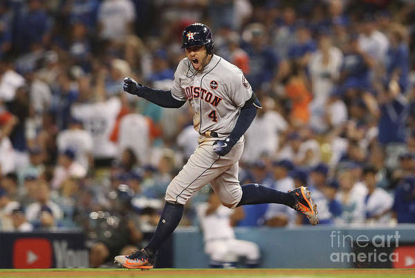 Game Two Art Print featuring the photograph George Springer by Christian Petersen