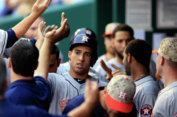 American League Baseball Art Print featuring the photograph George Springer by Jamie Squire