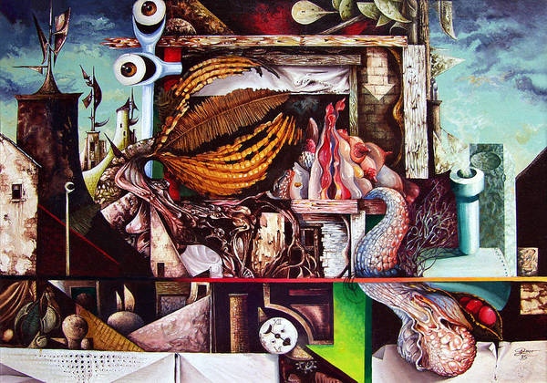 Surrealism Art Print featuring the painting Grey Day At The Factory by Otto Rapp