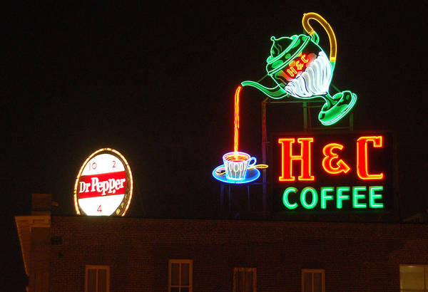 H C Coffee Art Print featuring the photograph H and C Coffee Sign Roanoke Virginia by Suzanne Gaff