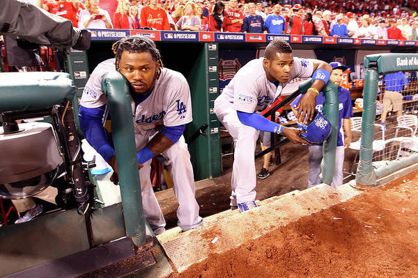 American League Baseball Art Print featuring the photograph Hanley Ramirez and Yasiel Puig by Jamie Squire