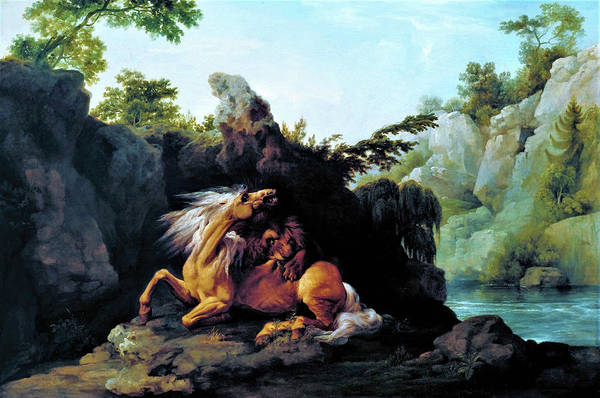 Horse Devoured By A Lion Art Print featuring the painting Horse Devoured By A Lion - Digital Remastered Edition by George Stubbs