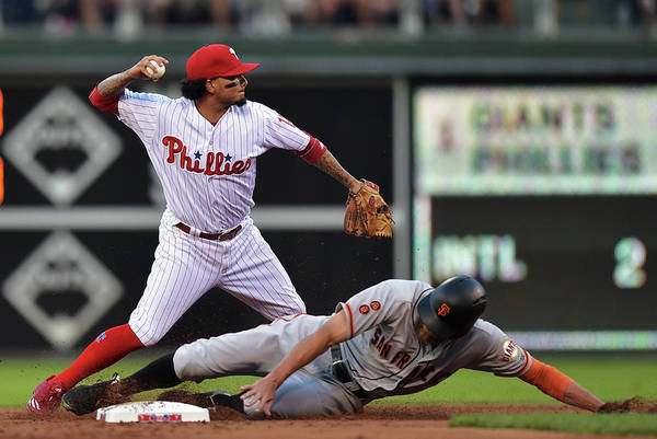Double Play Art Print featuring the photograph Hunter Pence and Freddy Galvis by Drew Hallowell