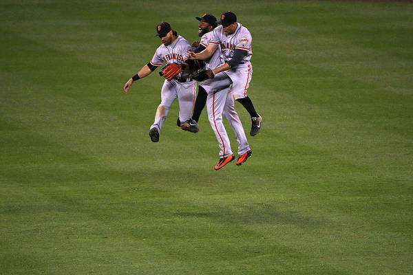 People Art Print featuring the photograph Hunter Pence, Denard Span, and Angel Pagan by Doug Pensinger