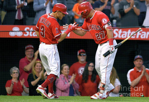 People Art Print featuring the photograph Ian Kinsler and Mike Trout by John Mccoy