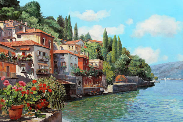 Lake Como Art Print featuring the painting Impressioni Del Lago by Guido Borelli