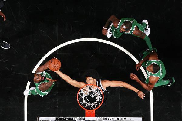 Nba Pro Basketball Art Print featuring the photograph Jaylen Brown and Jarrett Allen by Nathaniel S. Butler