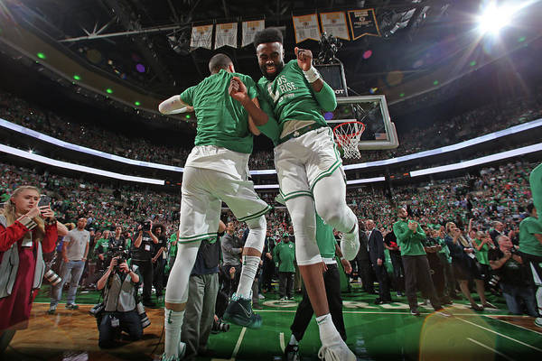 Playoffs Art Print featuring the photograph Jaylen Brown and Jayson Tatum by Nathaniel S. Butler