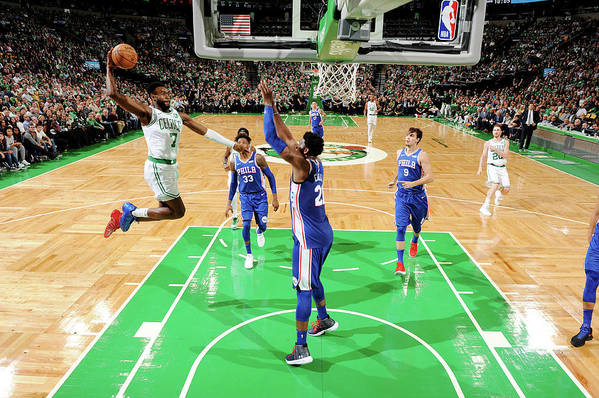 Nba Pro Basketball Art Print featuring the photograph Jaylen Brown and Joel Embiid by Brian Babineau