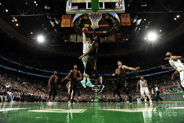 Playoffs Art Print featuring the photograph Jayson Tatum and Lebron James by Brian Babineau