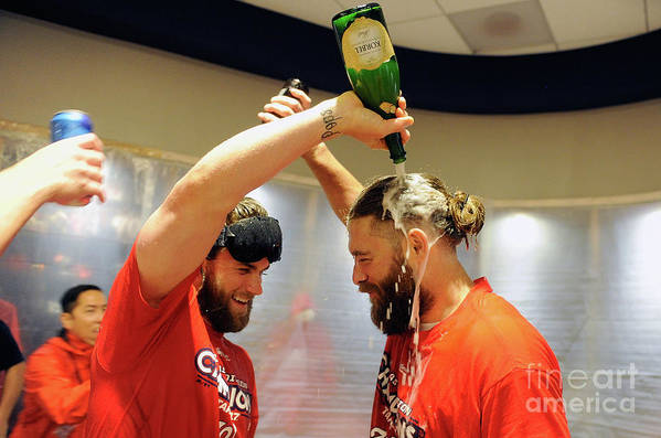 Championship Art Print featuring the photograph Jayson Werth and Bryce Harper by Greg Fiume
