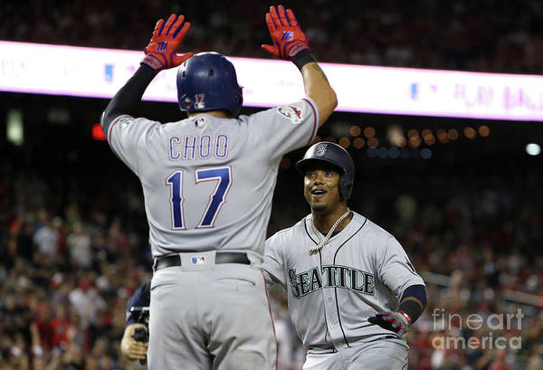 Three Quarter Length Art Print featuring the photograph Jean Segura and Shin-soo Choo by Patrick Smith