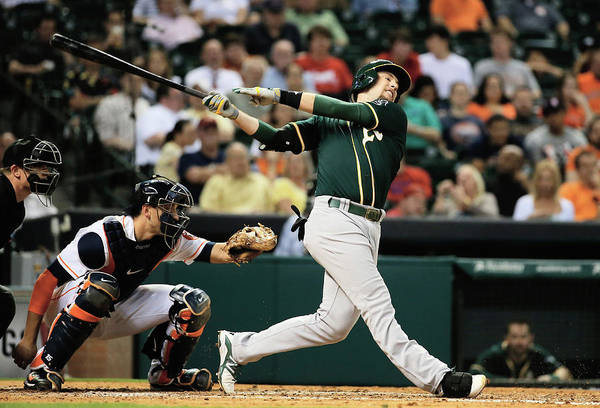 American League Baseball Art Print featuring the photograph Jed Lowrie by Scott Halleran