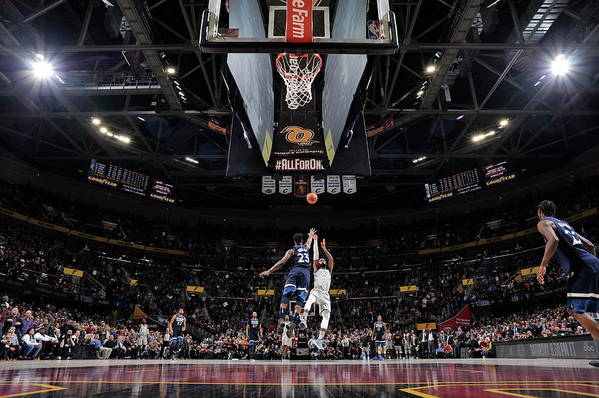 Nba Pro Basketball Art Print featuring the photograph Jimmy Butler and Lebron James by David Liam Kyle