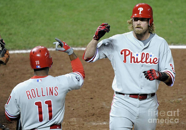 Playoffs Art Print featuring the photograph Jimmy Rollins and Jayson Werth by Harry How