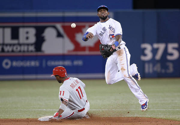 American League Baseball Art Print featuring the photograph Jimmy Rollins and Jose Reyes by Tom Szczerbowski