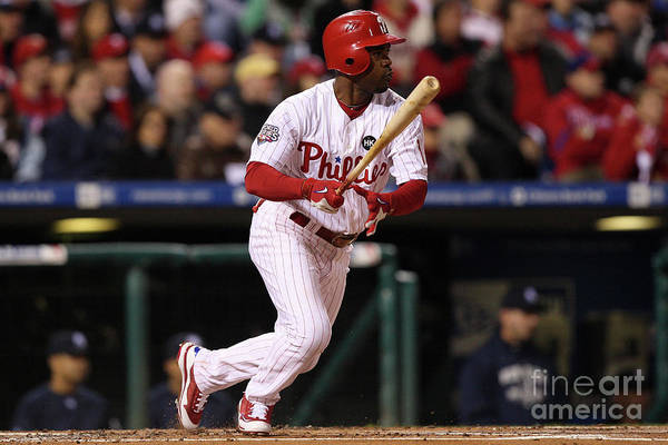 American League Baseball Art Print featuring the photograph Jimmy Rollins by Jed Jacobsohn
