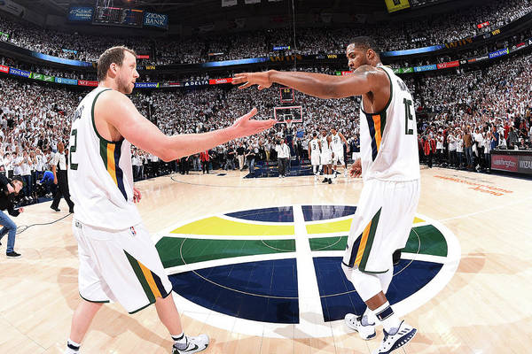 Playoffs Art Print featuring the photograph Joe Ingles and Derrick Favors by Andrew D. Bernstein