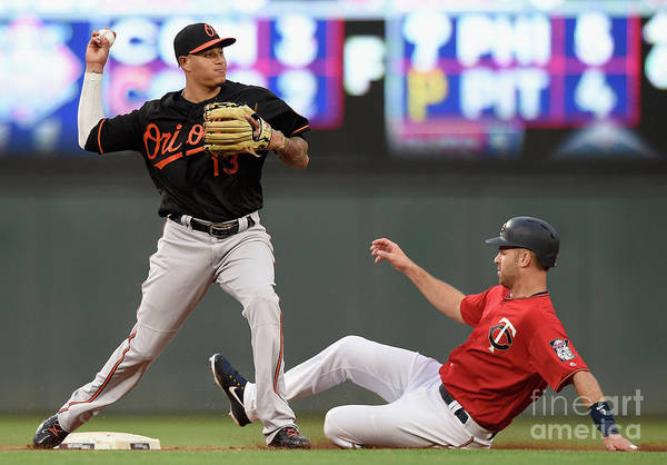 Double Play Art Print featuring the photograph Joe Mauer and Manny Machado by Hannah Foslien