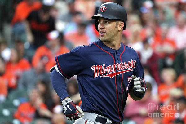 Looking Over Shoulder Art Print featuring the photograph Joe Mauer by Patrick Smith