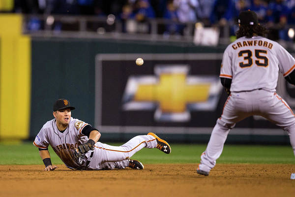 Playoffs Art Print featuring the photograph Joe Panik and Brandon Crawford by Brad Mangin