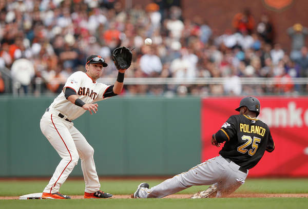 San Francisco Art Print featuring the photograph Joe Panik and Gregory Polanco by Ezra Shaw