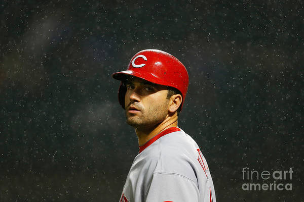 American League Baseball Art Print featuring the photograph Joey Votto by Mike Stobe