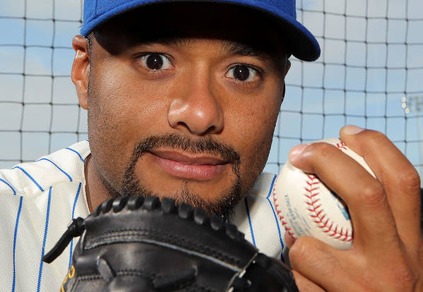 Media Day Art Print featuring the photograph Johan Santana by Marc Serota