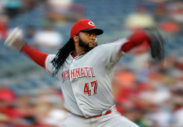 Three Quarter Length Art Print featuring the photograph Johnny Cueto by Rob Carr