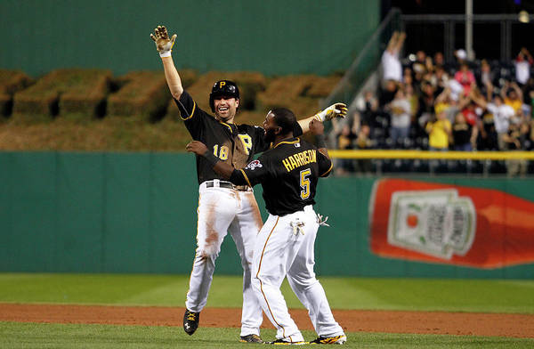 Ninth Inning Art Print featuring the photograph Josh Harrison and Neil Walker by Justin K. Aller