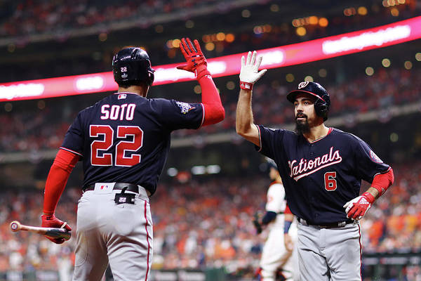 American League Baseball Art Print featuring the photograph Juan Soto and Anthony Rendon by Mike Ehrmann