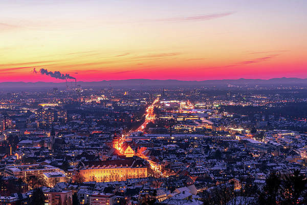 Karlsruhe Art Print featuring the photograph Karlsruhe in winter at sunset by Hannes Roeckel
