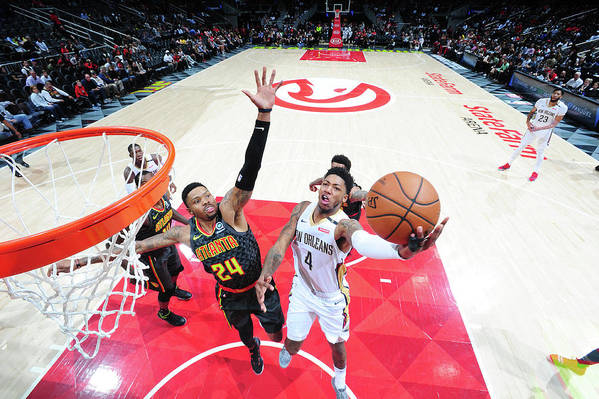 Atlanta Art Print featuring the photograph Kent Bazemore and Elfrid Payton by Scott Cunningham