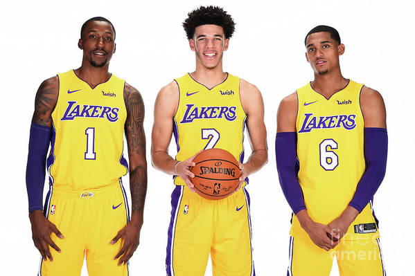 Media Day Art Print featuring the photograph Kentavious Caldwell-pope, Jordan Clarkson, and Lonzo Ball by Andrew D. Bernstein