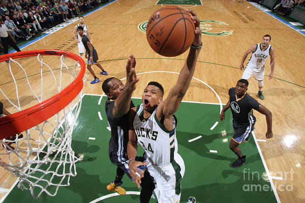 Nba Pro Basketball Art Print featuring the photograph Kevin Durant and Giannis Antetokounmpo by Gary Dineen