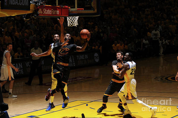 Playoffs Art Print featuring the photograph Kevin Durant and Lebron James by Garrett Ellwood