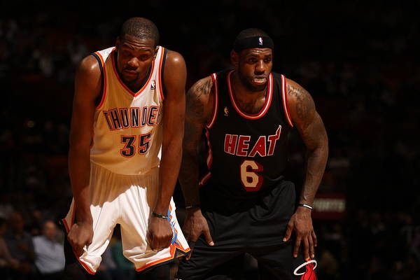 Nba Pro Basketball Art Print featuring the photograph Kevin Durant and Lebron James by Issac Baldizon