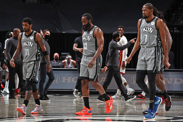 Nba Pro Basketball Art Print featuring the photograph Kevin Durant, Kyrie Irving, and James Harden by Nathaniel S. Butler