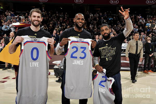 Nba Pro Basketball Art Print featuring the photograph Kevin Love, Kyrie Irving, and Lebron James by David Liam Kyle