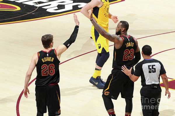 Playoffs Art Print featuring the photograph Kyle Korver and Lebron James by Nathaniel S. Butler