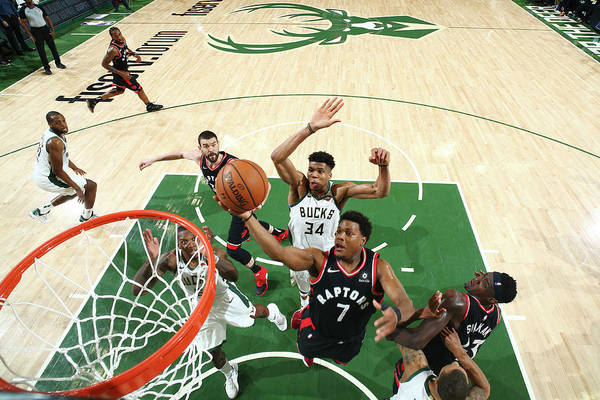 Playoffs Art Print featuring the photograph Kyle Lowry and Giannis Antetokounmpo by Nathaniel S. Butler