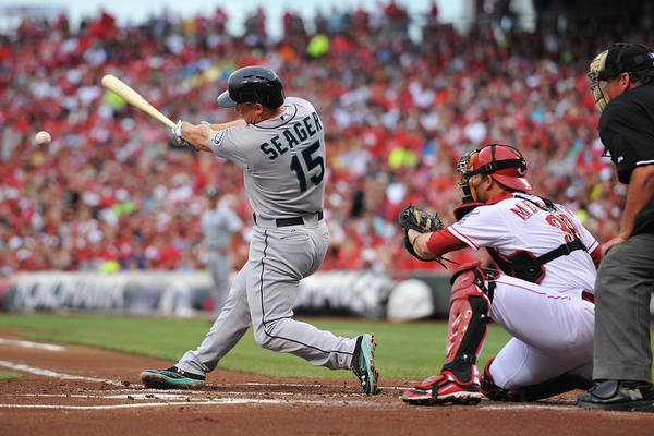 Great American Ball Park Art Print featuring the photograph Kyle Seager by Jamie Sabau